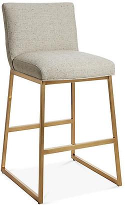 Hollas Counter Stool - Barley Crypton - Massoud - frame, brass; upholstery, barley/saddle
