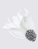 M&S Collection Feather Diamante Fascinator Clip