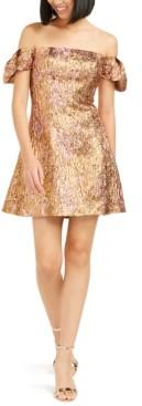 Aidan Mattox Off-The-Shoulder Metallic Dress