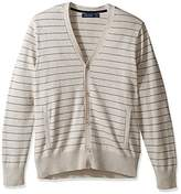 Nautica Men's Long Sleeve Button Front Striped V-Neck Cardigan