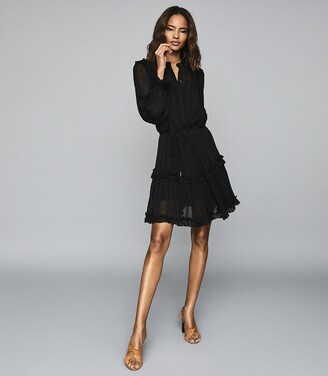 Reiss Justina - Semi Sheer Mini Dress in Black