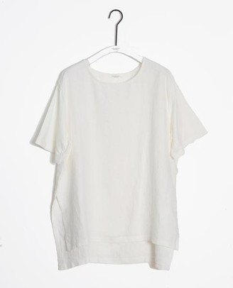 Beaumont Organic Hayley May Organic Cotton Linen Tunic In Off White - Off White / Large