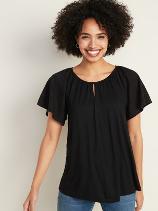 Old Navy Jersey-Knit Pointelle-Sleeve Top for Women
