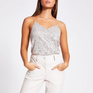 River Island Womens Silver sequin cami top