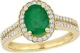Bellini 1.20 cttw Emerald & 3/10 cttw Diamond Engagement Ring