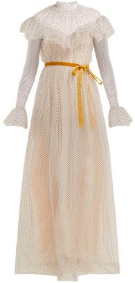 Erdem Mirabelle Ruffled Polka-dot Tulle Gown - White Multi