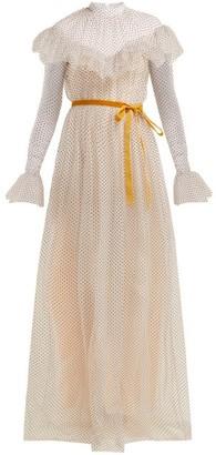 Erdem Mirabelle Ruffled Polka Dot Tulle Gown - Womens - White Multi