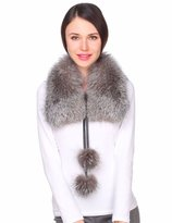 Ferand Ladies Large Genuine Fur Collar with Fur Pom poms for Jacket Coat