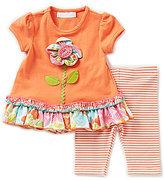 Bonnie Jean Bonnie Baby Baby Girls Newborn-24 Months Flower-Applique Dress & Striped Leggings Set
