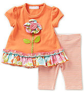 Bonnie Jean Bonnie Baby Girls Newborn-24 Months Flower-Applique Dress & Striped Leggings Set