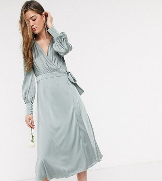 TFNC Tall bridesmaids long sleeve wrap front sateen midi dress with belt in sage