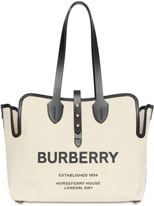 Burberry Medium Logo Print Canvas Tote Bag