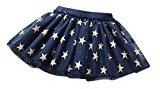 Fheaven Baby Girls Summer Stars Print Princess Gauze Tutu Skirt Party Mini Skirt (12M, Navy)