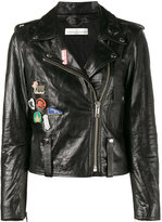Golden Goose Deluxe Brand badge emblazoned leather jacket - women - Cotton/Leather/Viscose - S