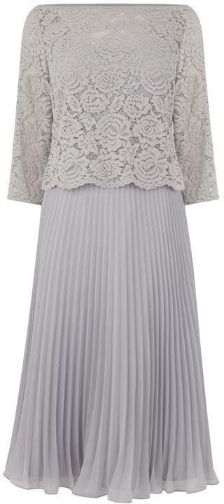Oasis three quarter Sleeve Lace Top Midi Dress