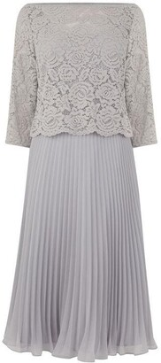 Oasis three quarter Sleeve Lace Top Midi Dress