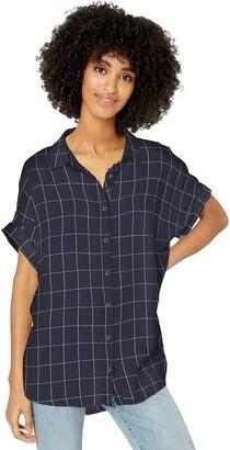 Goodthreads Modal Twill Short-sleeve Button-front Shirt Blue/White Double Bar Stripe