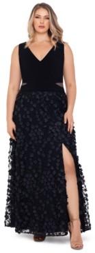 Xscape Evenings Plus Size 3D-Flower-Skirt Gown