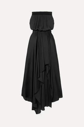 Halston Smocked Plisse-satin Gown - Black