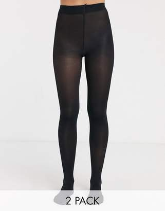 New Look 2 pack 100 denier thermal tights in black
