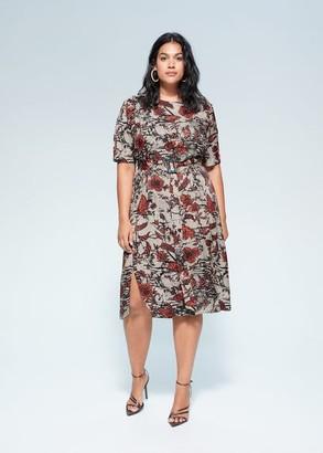 MANGO Violeta BY Floral print dress burnt orange - 10 - Plus sizes
