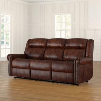"Hooker Furniture Esme Genuine Leather Reclining 85.5"" Round Arm Sofa"