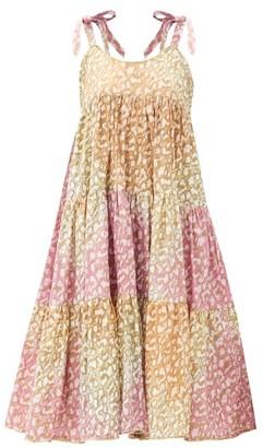 Juliet Dunn Snow-leopard Tie-dye Tiered Cotton Dress - Pink Print