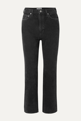 A Gold E Agolde AGOLDE - Pinch Waist Cropped High-rise Flared Jeans - Black