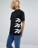 Reebok Classics Oversized High Neck T-Shirt With Vector Print In Black