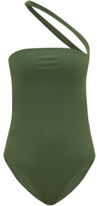 JADE SWIM Halo One-shoulder Cutout Swimsuit - Dark Green