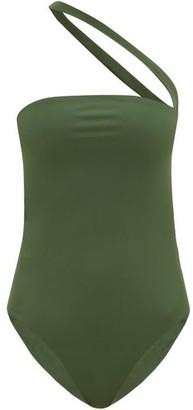 JADE SWIM Halo One-shoulder Cutout Swimsuit - Womens - Dark Green
