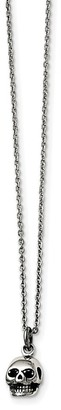 Chisel Stainless Steel Polished and Antiqued Skull Themed Necklace