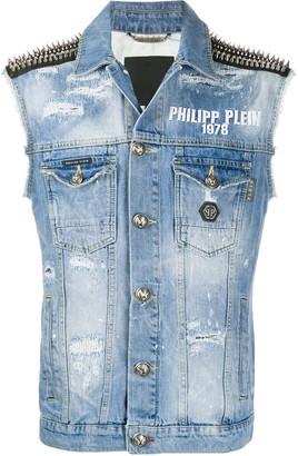 Philipp Plein Studded Shoulder Denim Vest Jacket