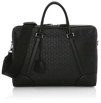 Salvatore Ferragamo Gancino Embossed Leather Briefcase