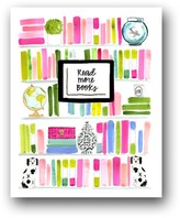 """The Well Appointed House """"Read More Books"""" Colorful Bookshelf Art Print"""