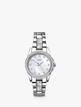 Sekonda 2841 Women's Crystal Bracelet Strap Watch, Silver/Mother of Pearl