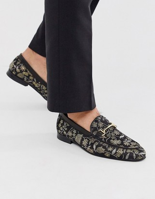 Walk London jude bar loafers in yellow brocade-Black