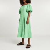 Thumbnail for your product : River Island Womens Green textured bardot midi dress
