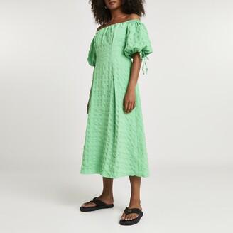 River Island Womens Green textured bardot midi dress