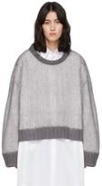Maison Margiela Grey and White Crewneck Sweater