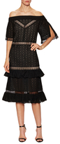 Prabal Gurung Lace Off Shoulder Flared Dress