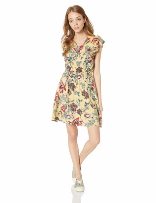 Angie Women's Cinched Waist Button Front Dress