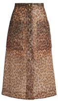 Christopher Kane Leopard-print frosted rubberised midi skirt