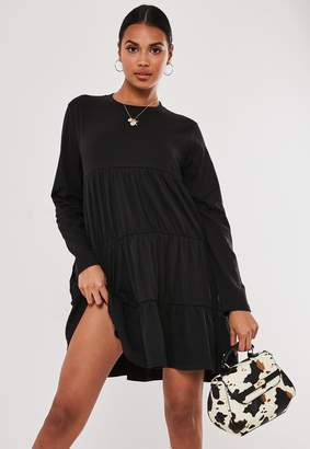 Missguided Petite Black Tiered Long Sleeve Smock Dress