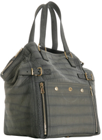 Yves Saint Laurent grey croc brushed suede 'Downtown' large tote