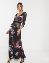 Little Mistress long sleeve v neck maxi dress