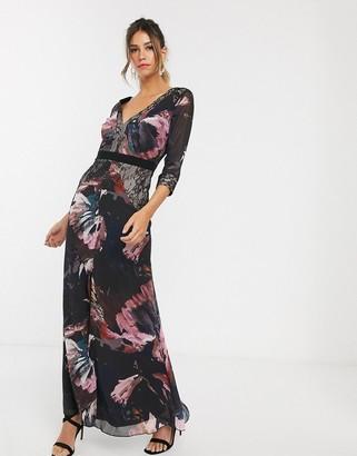 Little Mistress long sleeve v neck maxi dress-Multi