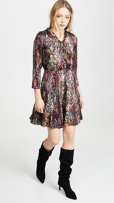 Rebecca Taylor Long Sleeve Snake Silk Dress