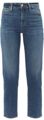 Frame Le Nouveau Straight Leg Cropped Jeans - Womens - Dark Blue