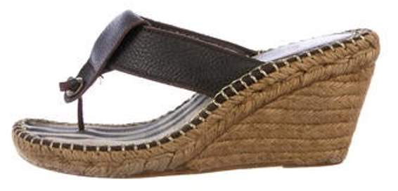 Burberry Espadrille Thong Wedges Brown Espadrille Thong Wedges